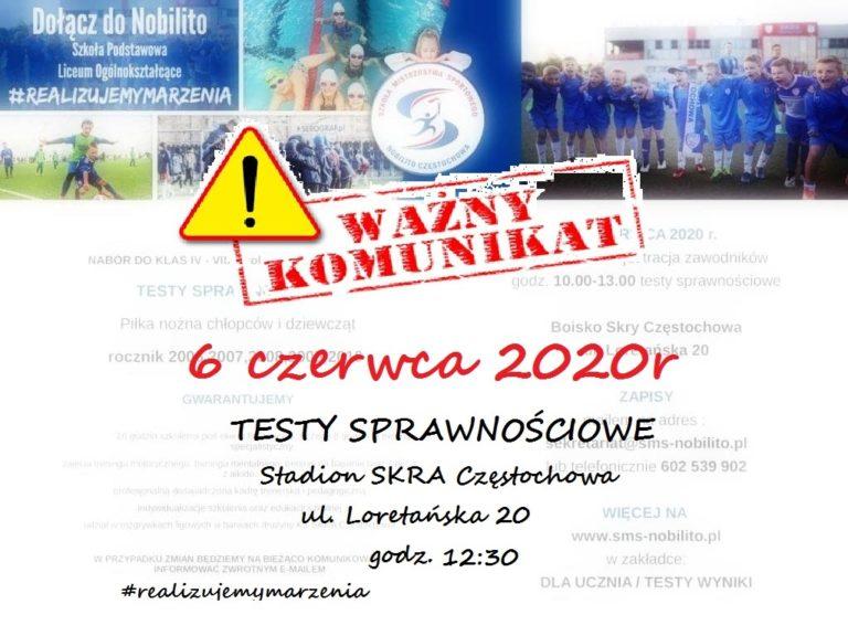 """Testy sprawnościowe do LOMS """"Nobilito"""" w Częstochowie na rok szkolny 2020/2021"""